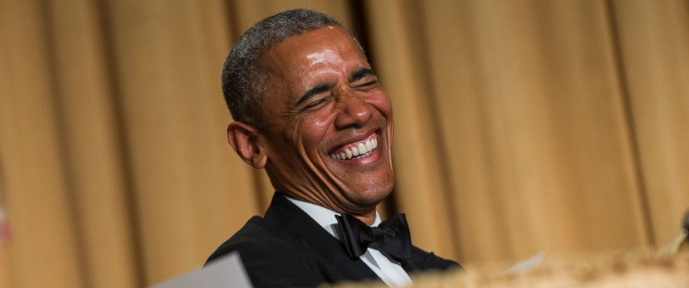 PHOTO: President Barack Obama laughs at a joke during the White House Correspondents Association dinner at the Washington Hilton on Saturday, April 25, 2015, in Washington.