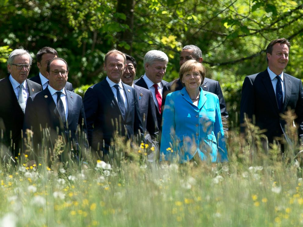 PHOTO: World leaders walk to a group photo near Garmisch, Germany at the G7 Summit on June 7, 2015.