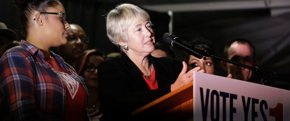 PHOTO: Houston Mayor Annise Parker speaks to supporters of the Houston Equal Rights Ordinance at a watch party, Nov. 3, 2015, in Houston.