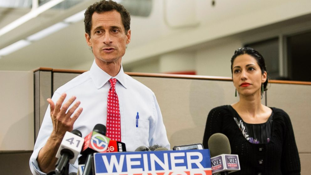 Then-New York mayoral candidate Anthony Weiner speaks during a news conference alongside his wife Huma Abedin in New York, July 23, 2013.