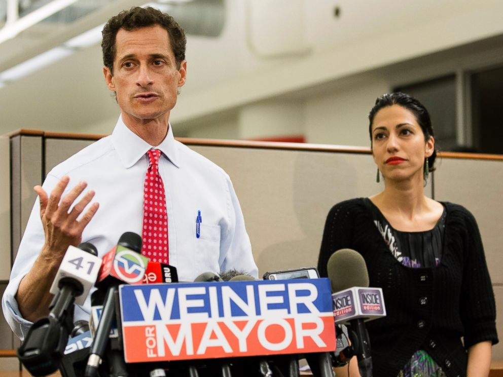 PHOTO: Then-New York mayoral candidate Anthony Weiner speaks during a news conference alongside his wife Huma Abedin in New York, July 23, 2013.