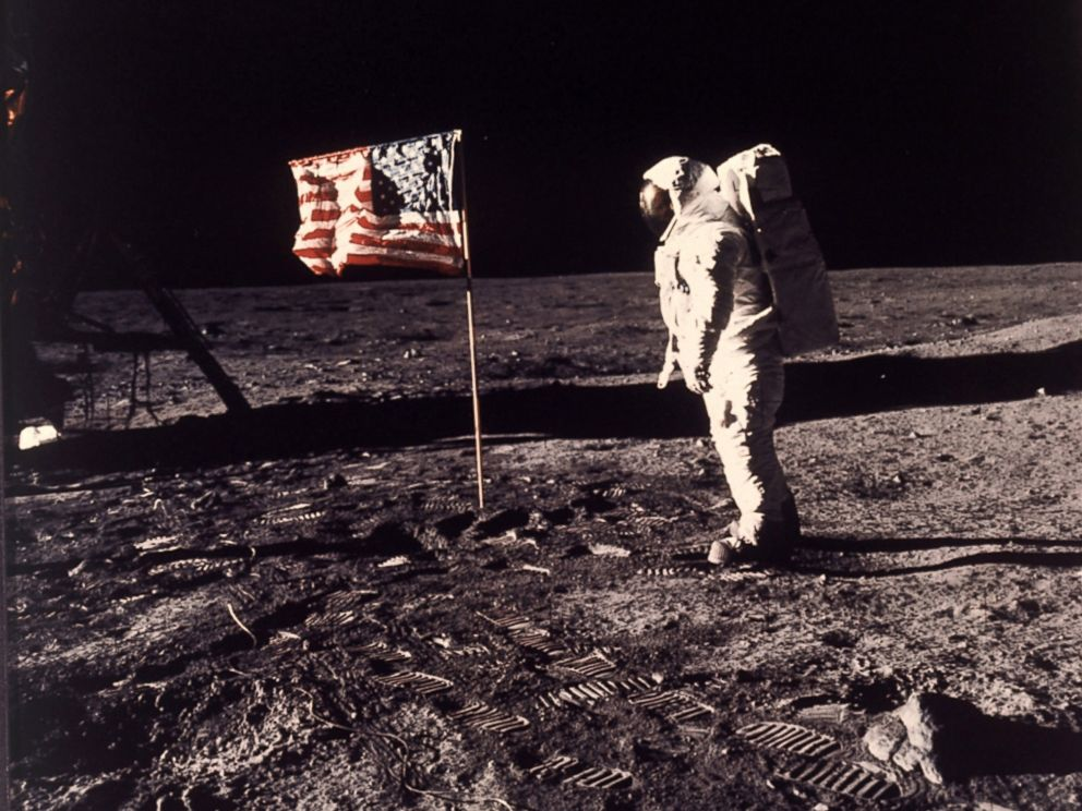 PHOTO: This July 20, 1969 file photo provided by NASA shows astronaut Edwin E. Buzz Aldrin Jr. posing for a photograph beside the U.S. flag deployed on the moon during the Apollo 11 mission.