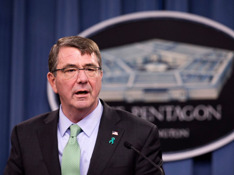 PHOTO: Defense Secretary Ash Carter speaks at the Pentagon during a news conference, Friday, May 1, 2015, to discuss the Defense Departments annual report on sexual assault in the military.