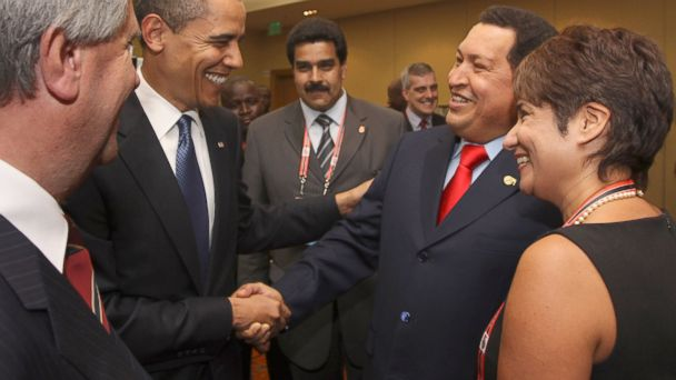 PHOTO: In this April 17, 2009 file photo, President Barack Obama, left, shakes hands with Venezuelas President Hugo Chavez before the opening session of the 5th Summit of the Americas in Port of Spain, Trinidad and Tobago.