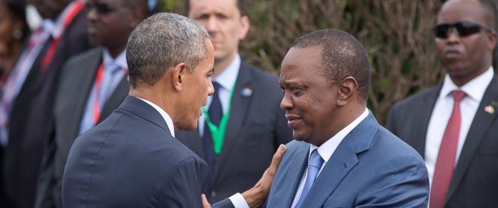 PHOTO: President Barack Obama is greeted by Kenyas President Uhuru Kenyatta, right, on his arrival at State House in Nairobi, Kenya, July 25, 2015.