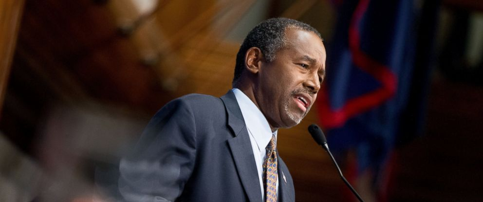 PHOTO: Republican presidential candidate Dr. Ben Carson speaks at the National Press Club in Washington, Oct. 9, 2015.