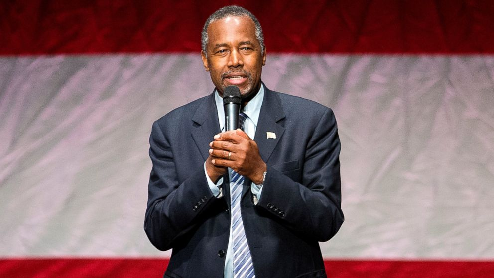 Republican presidential candidate Dr. Ben Carson speaks during a campaign event at Cobb Energy Center in Atlanta, Dec. 8, 2015.