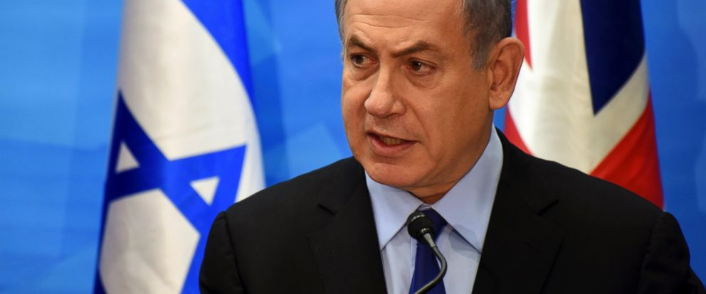 PHOTO: Israeli Prime Minister Benjamin Netanyahu holds a joint press conference with visiting British Foreign Secretary Philip Hammond in his office in Jerusalem on July 16, 2015.