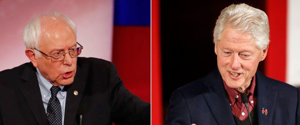PHOTO: Bernie Sanders, speaks at the NBC, YouTube Democratic presidential debate at the Gaillard Center, Jan. 17, 2016, in Charleston, S.C. Right, Former President Bill Clinton speaks, Jan. 13, 2016, at Keene State College in Keene, N.H.