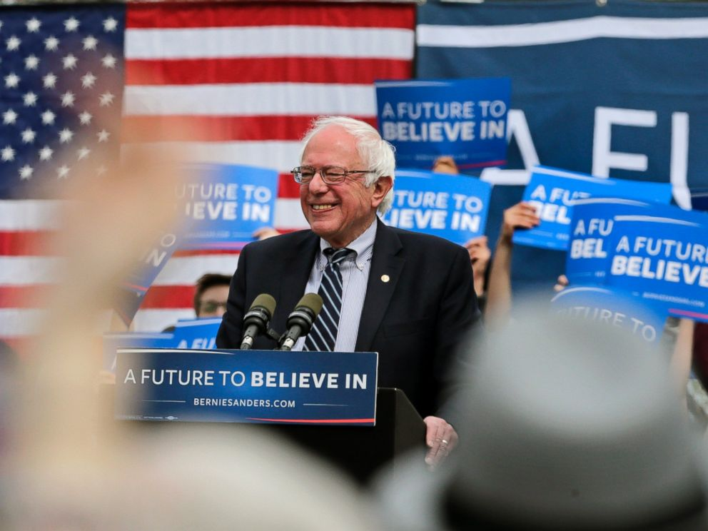 Democratic presidential candidate Sen. Bernie Sanders, smiles while addressing supporters during a campaign rally in Hartford, Conn., April 25, 2016.