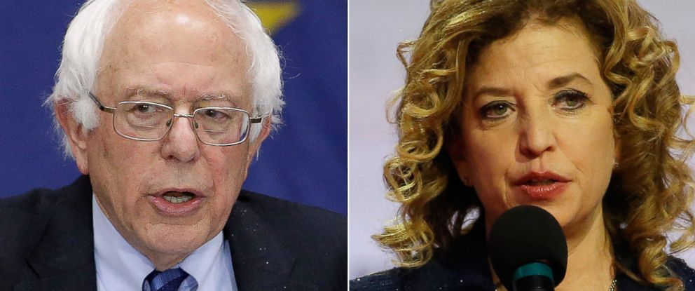 PHOTO: ***DO NOT USE***MISSING VERTICAL CROP***Pictured (L-R) are Democratic presidential candidate, Sen. Bernie Sanders in Fort Wayne, Ind., May 2, 2016 and Debbie Wasserman Schultz in Milwaukee, Feb. 11, 2016.