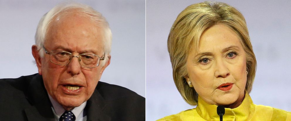 PHOTO: (L-R) Democratic presidential candidates Bernie Sanders and Hillary Clinton during a Democratic presidential primary debate, Feb. 11, 2016, in Milwaukee.