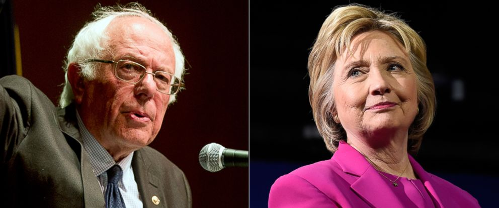 PHOTO: Pictured (L-R) are Democratic presidential candidate Sen. Bernie Sanders in Albany, New York, June 24, 2016 and Democratic presidential candidate Hillary Clinton in Charlotte, North Carolina, July 5, 2016.