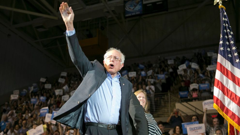 Democratic presidential candidate, Sen. Bernie Sanders, I-Vt., arrives with his wife Jane at a campaign rally, July 6, 2015, in Portland, Maine.