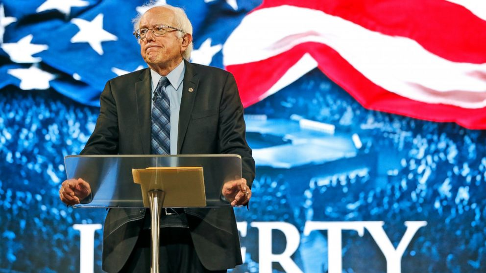 Democratic presidential candidate, Sen. Bernie Sanders, I-Vt. looks over the crowd during a speech at Liberty University in Lynchburg, Va., Sept. 14, 2015.