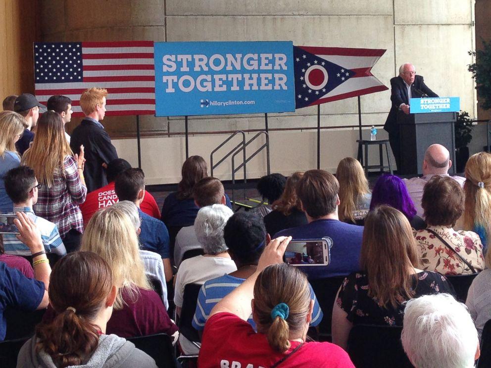 PHOTO: Sen. Bernie Sanders speaks to an audience at the University of Akron, Sept. 17, 2016 in Akron, Ohio.