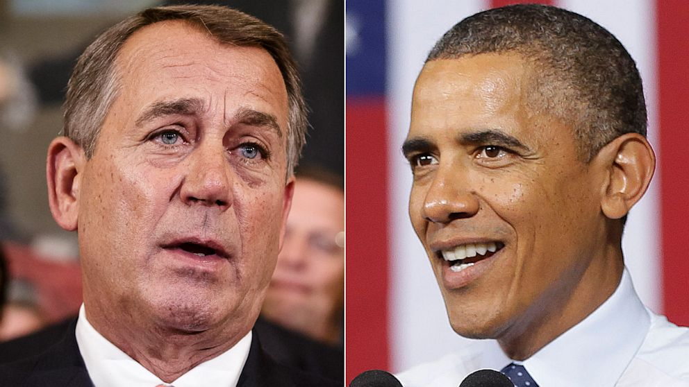 Speaker of the House John Boehner, R-Ohio, after passing a bill that would prevent a government shutdown while crippling Obama's health care law, at the Capitol in Washington, Sept. 20, 2013; President Barack Obama speaks at the Ford Kansas City Stamping Plant in Liberty, MO., Sept. 20, 2013.