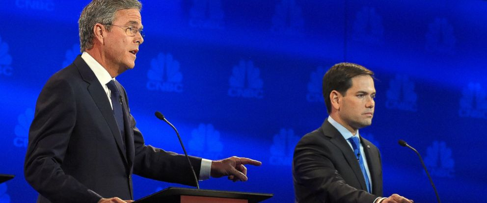 PHOTO: Jeb Bush, left, speaks as Marco Rubio looks on during the CNBC Republican presidential debate at the University of Colorado, Oct. 28, 2015, in Boulder, Colo.