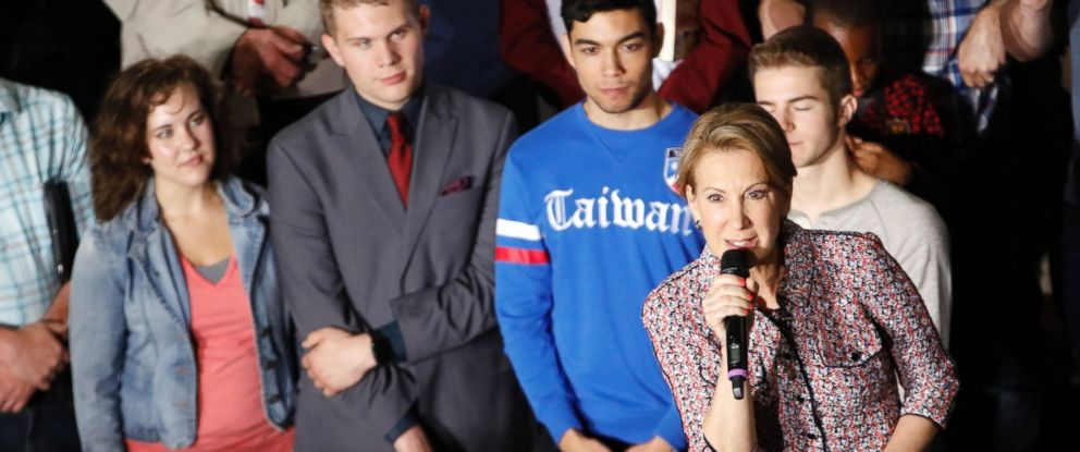PHOTO:Carly Fiorina, Republican presidential candidate Sen. Ted Cruz pick for vice president, speaks after being introduced during a campaign rally in Lafayette, Ind., May 1, 2016.