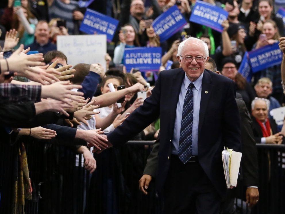 Democratic presidential candidate, Sen. Bernie Sanders, greets supporters before speaking at a rally at the Macomb Community College, March 5, 2016, in Warren, Mich.