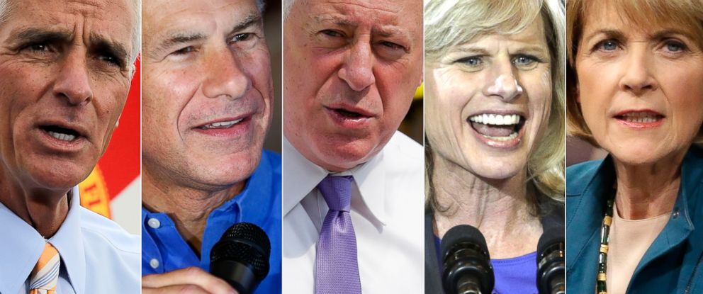 PHOTO: (L-R) Charlie Crist, Greg Abbott, Pat Quinn, Mary Burke and Martha Coakley.