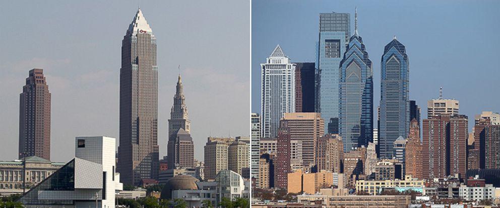 PHOTO: The Cleveland skyline, July 7, 2010, left, and the Philadelphia skyline, Nov. 15, 2015.