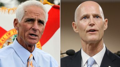 PHOTO: From left, former Florida Governor Charlie Crist in St. Petersburg, Fla., Nov. 4, 2013 and Governor Rick Scott in Miami, Jan. 14, 2014.