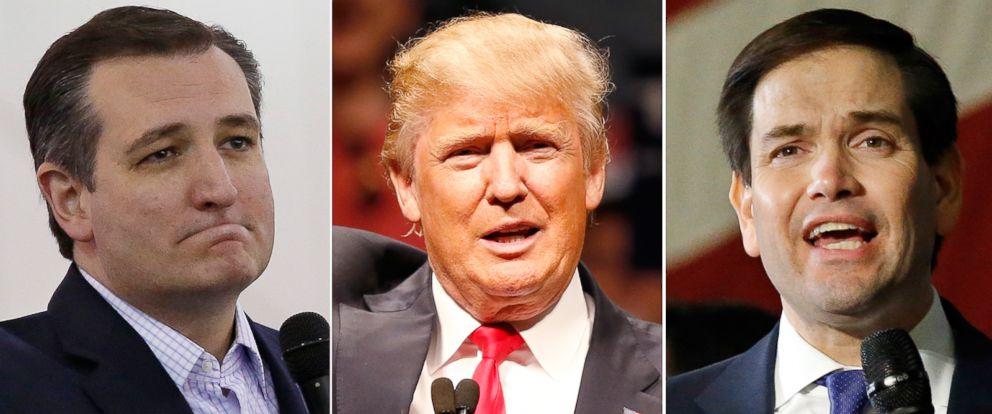 PHOTO: Pictured (L-R) are Republican presidential candidates Sen. Ted Cruz in Tulsa, Okla., Feb. 28, 2016, Donald Trump in Oklahoma City, Feb. 26, 2016 and Sen. Marco Rubio in Oklahoma City, Feb. 29, 2016.