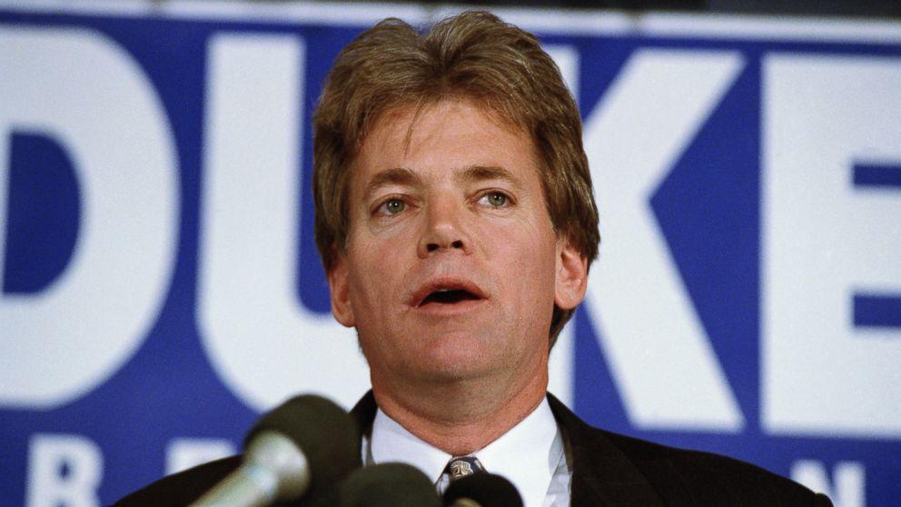 Former KKK Grand Wizard and presidential candidate Duke David speaks in 1991.