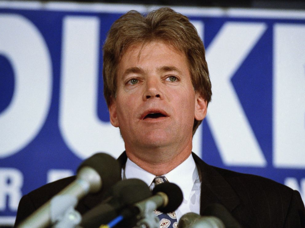 PHOTO: Former KKK Grand Wizard and presidential candidate Duke David speaks in 1991.