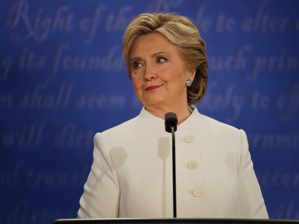 PHOTO: Democratic presidential nominee Hillary Clinton listens to Republican presidential nominee Donald Trump during the third presidential debate at UNLV in Las Vegas,Oct. 19, 2016.