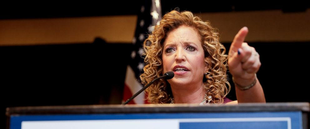 PHOTO: DNC Chairwoman, Debbie Wasserman Schultz, D-Fla., speaks during a Florida delegation breakfast, 25, 2016, in Philadelphia, during the first day of the Democratic National Convention.