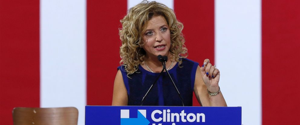 PHOTO: DNC Chairwoman, Debbie Wasserman Schultz speaks during a campaign event for Democratic presidential candidate Hillary Clinton, July 23, 2016, in Miami.