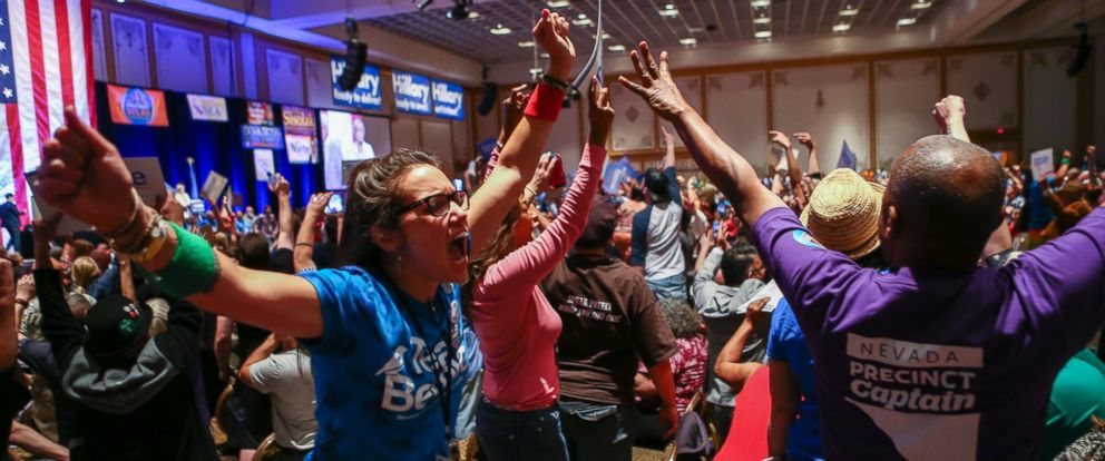 PHOTO: The Nevada Democratic Convention turned into an unruly and unpredictable event, after tension with organizers led to some Bernie Sanders supporters throwing chairs and to security clearing the room on May 14, 2016, organizers said.