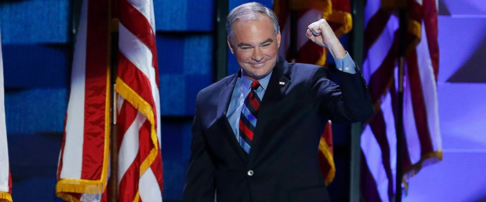 PHOTO: Democratic vice presidential candidate, Sen. Tim Kaine, D-Va., walks on stage during the third day of the Democratic National Convention in Philadelphia , July 27, 2016.