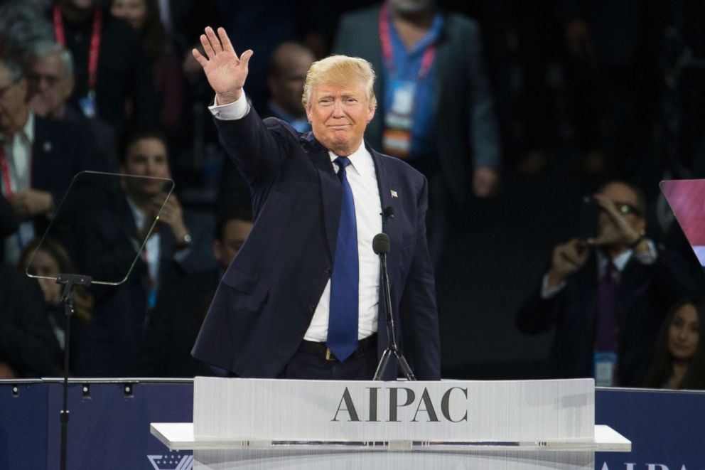 Republican presidential candidate Donald Trump waves after giving a speech at the 2016 American Israel Public Affairs Committee Policy Conference at the Verizon Center