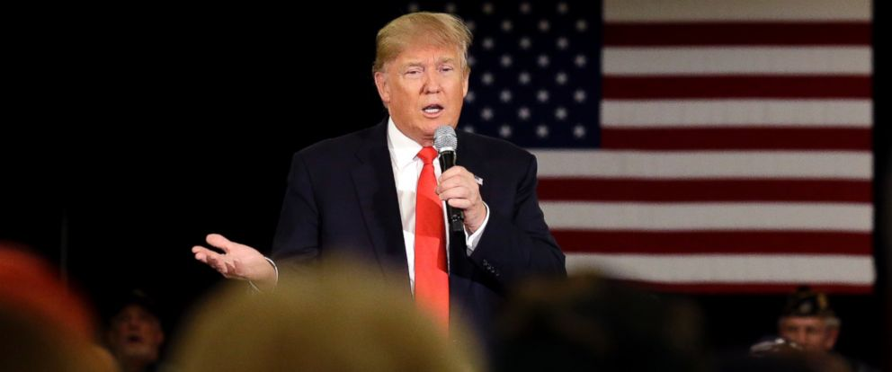 PHOTO: Republican presidential candidate Donald Trump speaks at a campaign stop, March 30, 2016, in Appleton, Wisconsin.