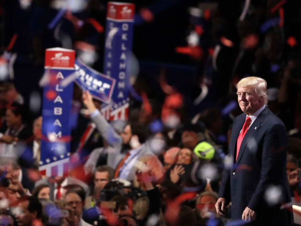 PHOTO: Confetti and balloons fall during celebrations after Republican presidential candidate Donald Trumps acceptance speech on the final day of the Republican National Convention in Cleveland, July 21, 2016.