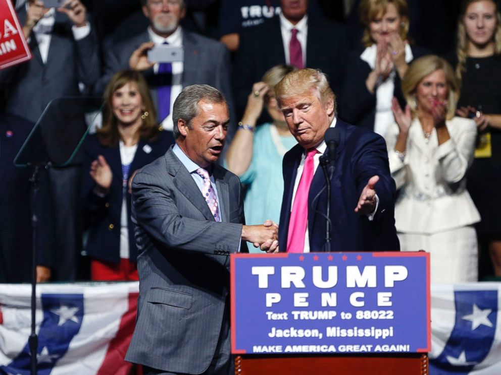 PHOTO: Republican presidential candidate Donald Trump welcomes Nigel Farage, ex-leader of the British UKIP party, to speak at a campaign rally in Jackson, Mississippi, Aug. 24, 2016.