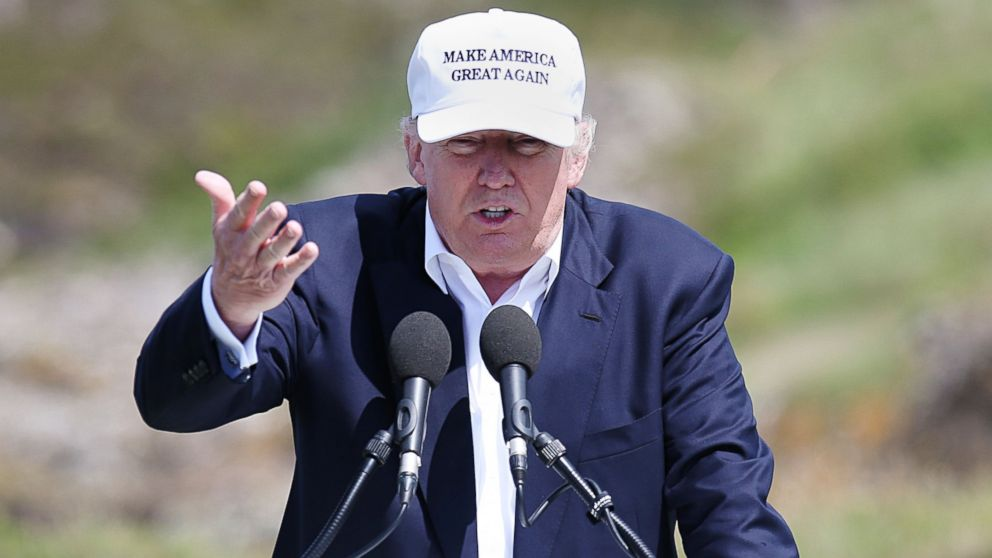 The presumptive Republican presidential nominee Donald Trump makes a speech at his revamped Trump Turnberry golf course in Turnberry Scotland, June 24, 2016.