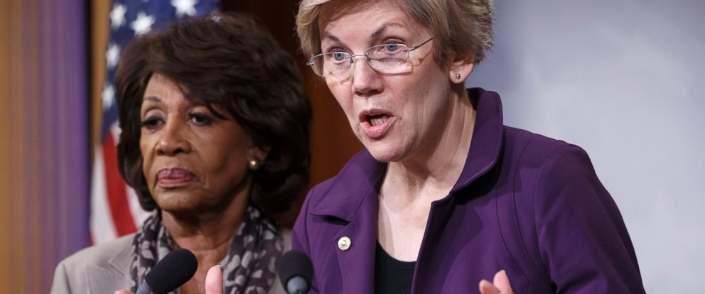 PHOTO: Elizabeth Warren, right, and Maxine Waters, left, are pictured during a news conference at the Capitol in Washington, D.C. on Dec. 10, 2014.