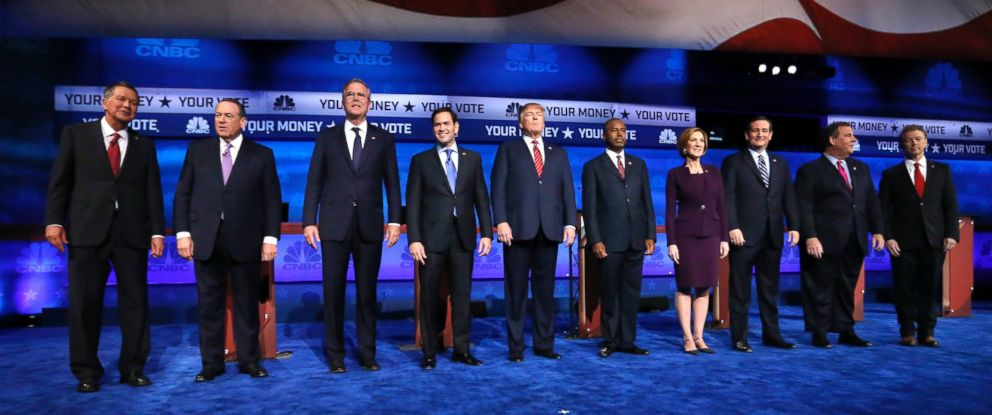 PHOTO: Republican presidential candidates take the stage during the CNBC Republican presidential debate, Oct. 28, 2015, in Boulder, Colo.