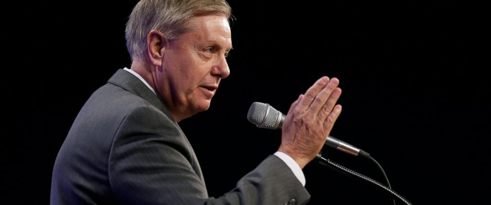 PHOTO: Sen. Lindsey Graham, R-S.C., speaks during the Iowa Republican Partys Lincoln Dinner, Saturday, May 16, 2015, in Des Moines, Iowa.