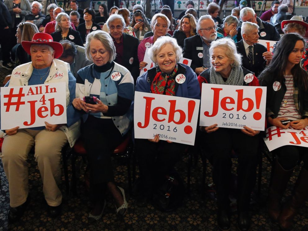 PHOTO: Supporters of Republican presidential candidate, former Florida Gov. Jed Bush, hold signs at a campaign stop at Wades Restaurant in Spartanburg, S.C., Feb. 19, 2016.