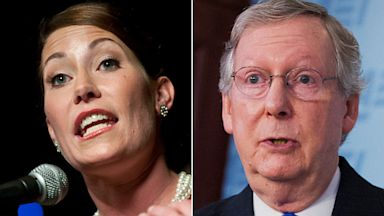 PHOTO: Kentucky Secretary of State Alison Lundergan Grimes, Senate Minority Leader Mitch McConnell,