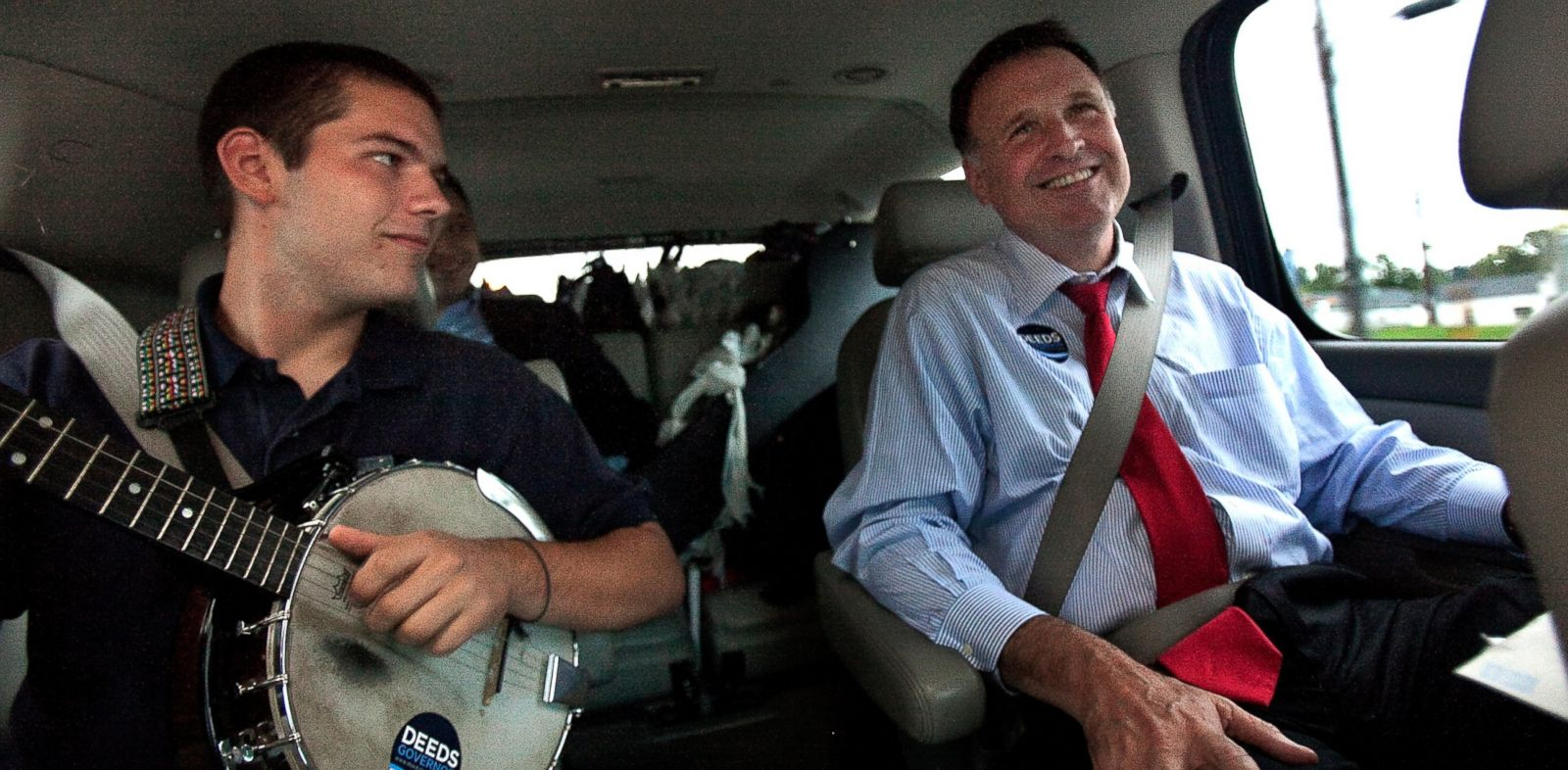 PHOTO: Democratic gubernatorial candidate Creigh Deeds spends time with his son Gus, left, on the road to Halifax, Va., between campaign events, Sept. 25, 2009.