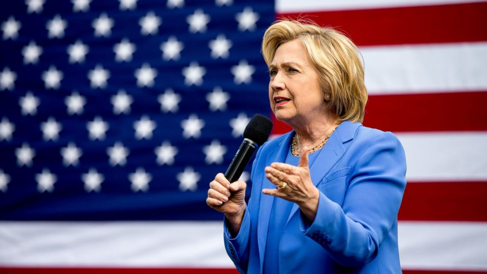 Hillary Clinton speaks at the home of Nathan Smith during a campaign stop in Fort Mitchell, Ky., May 15, 2016.