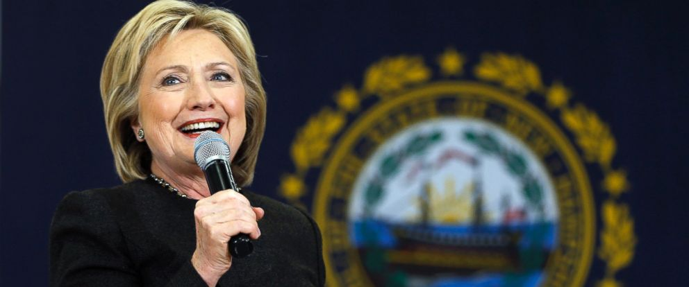 PHOTO: Hillary Clinton speaks during a campaign stop on Feb. 3, 2016, in Derry, N.H.