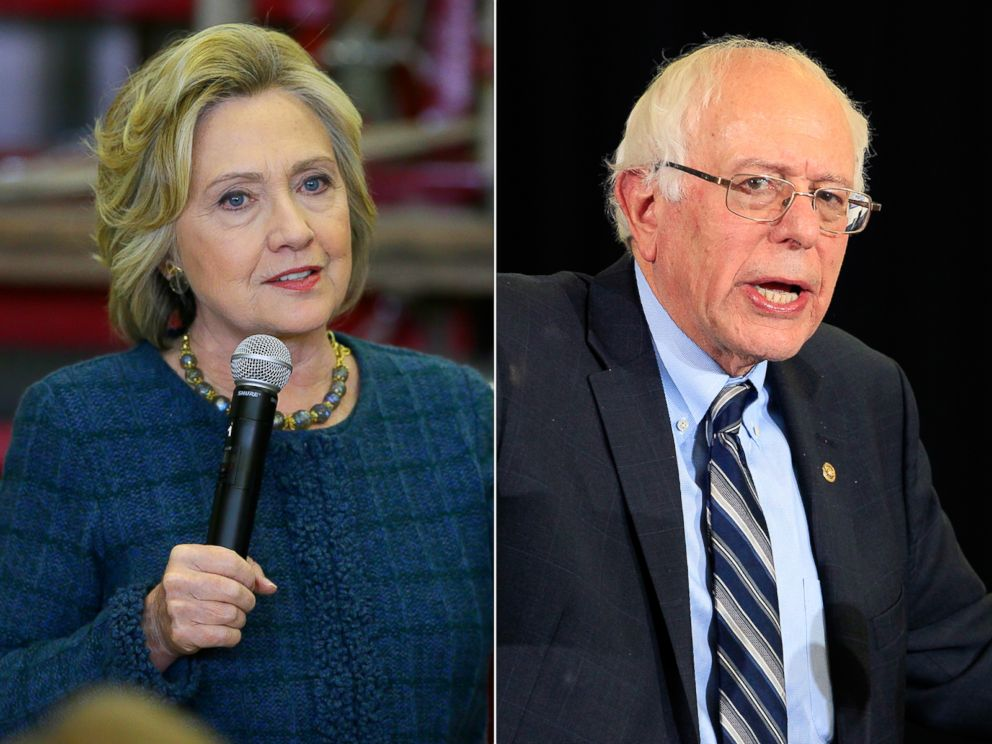 PHOTO: Pictured (L-R) are Democratic presidential candidates Hillary Clinton in Osage, Iowa, Jan. 5, 2016 and Sen. Bernie Sanders in Las Vegas, Dec. 28, 2015.