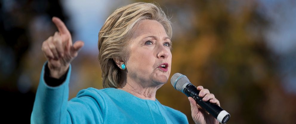 PHOTO: Democratic presidential candidate Hillary Clinton speaks at a rally at St. Anselm College in Manchester, New Hampshire, Oct. 24, 2016.
